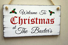Personalised  Christmas Sign Wooden Welcome Sign Xmas Decoration Gift Idea