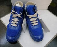 NIB 100% AUTH Gucci Boys Blue shearling high top sneaker 356075 Sz 31/US 13