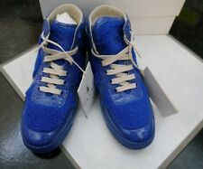 NIB 100% AUTH Gucci Blue Children's Blue shearling high top sneaker 356075 Sz 31