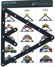 Billard Zubehör Dreieck Folie Rack Pool Aufbau Schablone 8/9/10-Ball 6.Stück Set