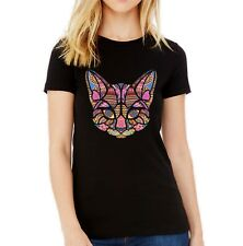 Velocitee Ladies T-Shirt Colourful Ethnic Art Mosaic Cat Face Feline W18355