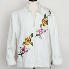 NWT Nygard White Floral Embroidery Jacket Size 20W