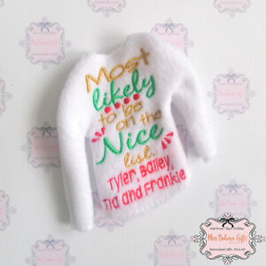 Personalised Elf on the Shelf Nice List Christmas Jumper Clothes accessory prop
