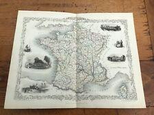 More details for 1855 original ornate map of france - with vignette's !