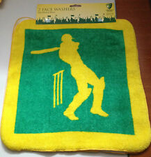 CRICKET AUSTRALIA  2 PACK FACE WASHER 30CM X 30CM *SPECIAL PRICE*BRAND NEW