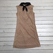 Vtg 60s Sacony Ciella Tan Brown Floral Dress Mod Shift W/ Neck Scarf Bandana S/M