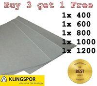 WET AND DRY SANDPAPER KLINGSPOR Assorted grit 400 600 800 1000 1200 - PACK OF 5