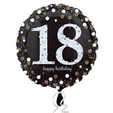 18th Joyeux Anniversaire Ballons Métalliques Noir Argent or Décoration de Fête