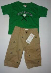 Gymboree Boys 3-6 Months Outfit Set Golf Lot Top Shirt Pants Green NEW