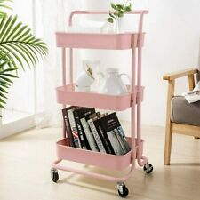 New listing 3-Tier Metal Rolling Utility Cart Mobile Storage Organizer Trolley Cart Shelf Us