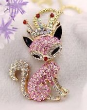 Betsey Johnson Necklace Pink Crystals Fox Crown Unique With Gift Bag 4  325