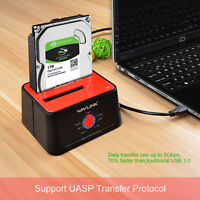 "USB 3.0 to SATA External Hard drive Docking Station, Dual Bay &2.5"" 3.5""HDD/SDD"