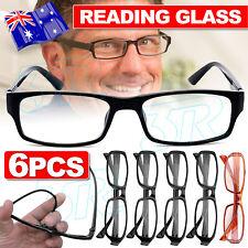 6Pairs Mens Ladies Wayfarer Frame Magnifying Reading Glasses Nerd Spectacl NEW