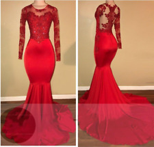 Red Long-Sleeves Mermaid Appliques Sheer Prom Dresses Evening Gown custom made