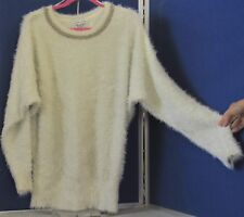 EUC Outstanding SWEATER by BLACK RIVET Fluffy IVORY & SILVER w. BLING Neckline M
