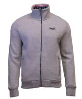 Superdry Mens New Orange Label Full Zip Track Top Sweatshirt Long Sleeve Grey