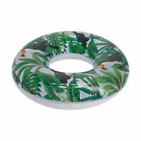 Inflatable Swimming Ring Trendy Leaf Print Kids Adult Beach Pool Float Water LF