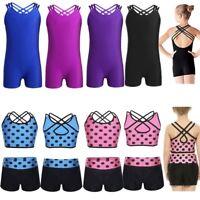 Girls Gymnastics Leotard Ballet Dancewear Sleeveless Polka Dot Top Bra+Shorts