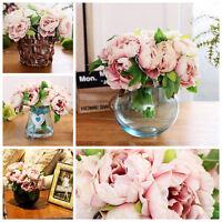 Künstliche Pfingstrose Seiden Blumen Blumenstrauß Haus Zimmer Hochzeit DIY Dekor