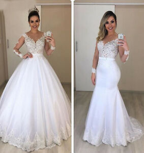 Long sleeve Wedding Dresses Detachable Skirt Bridal Gown Lace Tulle White Ivory
