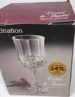 Cristal De Flandre Fascination Wine Goblets New Boxed 24% Lead Crystal Set of 4