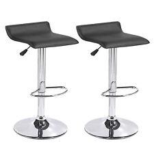 Set of 2 Black Swivel Seat Chrome Base Pub Bar Stools Dinning Kitchen Chairs