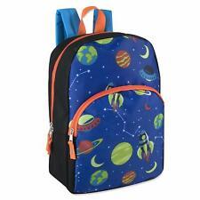 """Boys 15"""" Backpack Bookbag Adjustable Straps Blue & Orange Space Print"""
