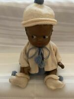 """Antique 1930s Black African American Composition Doll Boy  10"""""""
