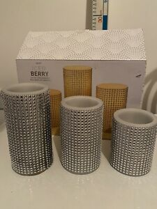 next iced berry set of 3 fragranced real wax led candles No remote Scented