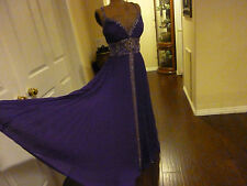 Stunning Beaded Purple Accordion pleated Prom Gown -Pageant -bridesmaid dress