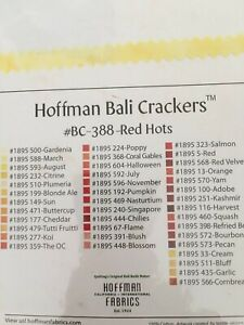 """""""Red Hots"""", Hoffman Bali Crackers, 40 Pcs., 40 Colors, 10"""" Squares, See Picture"""