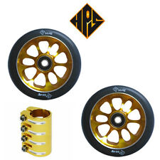 HPS PRO STUNT SCOOTER SET 2 110mm GOLD CORE WHEELS ABEC 11 BEARINGS QUAD CLAMP