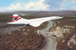 British Airways Concorde over Clifton Bridge Bristol print signed by last 3 crew