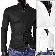 Cotton Blend Grandad Loose Fit Casual Shirts & Tops for Men