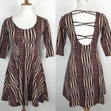 Volcom Day Off Skater Dress 3/4 Sleeve Multi-Color Stripe Open Back Empire XS
