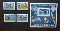 Barbuda 1983 World Communications Year set & Miniature Sheet MNH