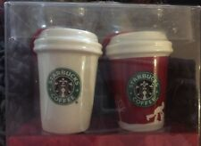 PAIR Starbucks Christmas Tree Holiday 2006 Ornaments To Go Mugs old logo New