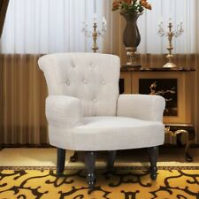 S# 2pcs French Provincial Arm Chair Sand White Dining Wingback Sofa Wing Style