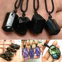 Black Tourmaline Stone Pendant Chakra Necklace Crystal Gems Specimen Stone