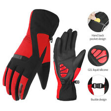 Winter Outdoor Waterproof Warm Thermal Cycling Long Finger MTB Bike Gloves Red