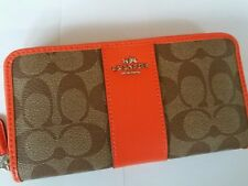 Coach signature zip around wallet khaki/orange