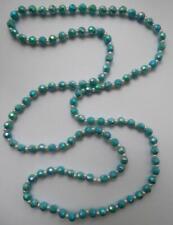 Bn Vintage 1950 S Bleu Turquoise à Facettes Plastique Perles Tambour Collier DEADSTOCK