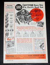 1950 OLD MAGAZINE PRINT AD, SEARS CRAFTSMAN, HEAVY DUTY 8-IN. ELECTRIC HAND SAW!