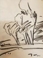 "JOSE TRUJILLO NEW Original Charcoal Paper Sketch Drawing 12"" COLLECTIBLE"