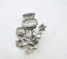 Flower Brooch Pin~Scottish Celtic Silver Tone Vintage Style Thistle