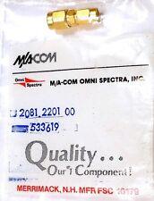RF COAX ADAPTER - SSMA-PLUG<=>SMA-PLUG - M/A-COM 2081-2201-00 - *UNUSED* - Qty:1
