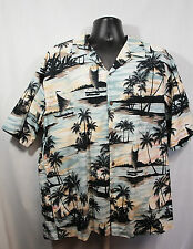 RJC 3XL Hawaiian Shirt XXXL Sail Boats Palm Trees Hawaii Islands Made in USA