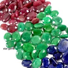 500 CTS NATURAL EMERALD RUBY SAPPHIRE LOT MIX FACETED GEMSTONE