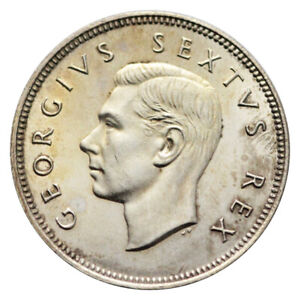 "SOUTH AFRICA 2 SHILLING ""2S"" SILVER KM# 38.2 KING GEORGE VI 1951"