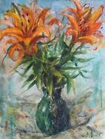 GERRY MILLER.Original Kunstwerk Flowers Aquarell auf Papier.24x32cm.Ohne Rahmen.
